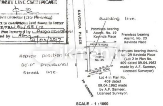13.7 P Bare Land Sale At Facing Kavinga Place Colombo 06
