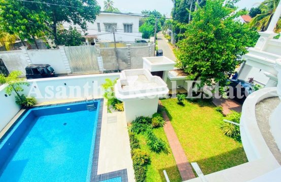 Swiming Pool With B/N Luxury 3 Story House Sale At Koswatha Nawala